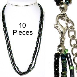 "10pc 18"" 3-Line Bead Necklace Black Aura Borealis NK50"