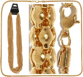 "12pc 27"" Chain 3mm Thick Cord 5mm Thick End Gold NK500"