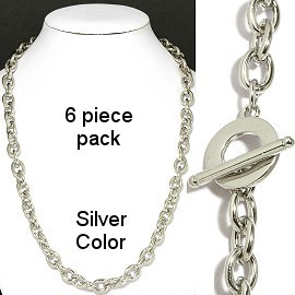 "6 pcs 20"" Silver Color Chain NK552"