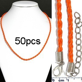 "50pc 18"" Braided Rope Cord 3mm Orange NK563"