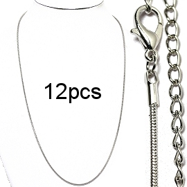 "12pcs 19"" Silver Chains 1.5 mm NK573"