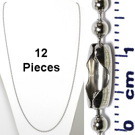 "12pcs 31"" Ball Chain Silver Tone, Stainless Steel Material NK574"