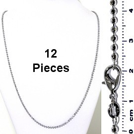 "12pcs 24"" Inches Ball Chain Silver Tone NK575"