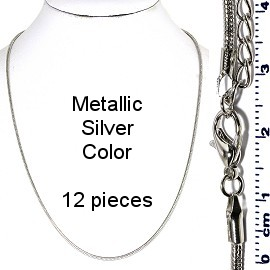 "12pcs 19"" Inches 2mm Wide Chain Lobster Claw End Silver NK578"