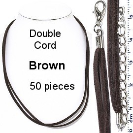 "50pcs 18"" Inches Double Strand Felt Cord Lobster End Brown NK583"
