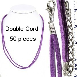 "50pcs 18"" Inches Double Strand Felt Cord Lobster Purple NK588"