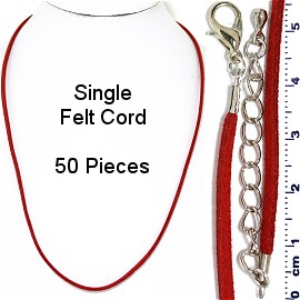 "50pcs 18"" Inches Single Strand Felt Cord Lobster End Red NK601"
