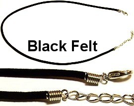"1pc Black 1 Felt Rope with Hook Lock 18"" Inches Ns03"