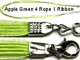 "50pcs-pk 18"" Cord 4Strings-1Ribbon Lt Apple Green NK103"