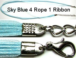 "50pcs-pk 18"" Cord 4Strings-1Ribbon Light Sky Blue NK107"