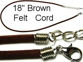 "50pcs-pk 18"" Cord Felt Brown NK117"