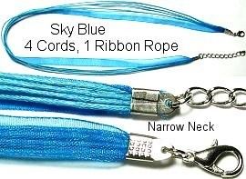 "18"" Deep Sky Blue 4 Rope 1 Ribbon Narrow Head Ns121"