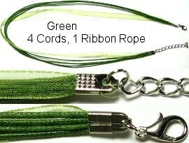 "18"" Tea Green 4 Rope 1 Ribbon Narrow Head Ns122"