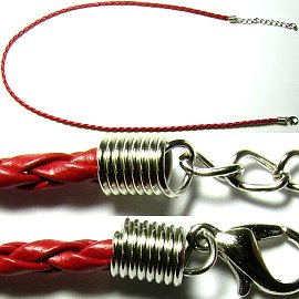 "50pcs-pk 23"" 3mm Cord Leather Braided Red NK134"
