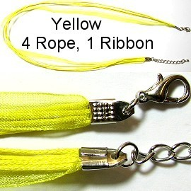 "50pcs-pk 18"" Cord 4Strings-1Ribbon Yellow NK138"