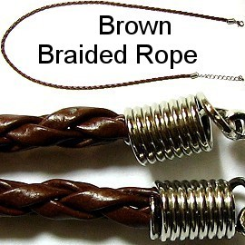 "50pcs-pk 18"" 3mm Cord Leather Braided Brown NK142"