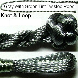 "Gray w/ Green Tint Twisted Knot & Loop 17"" Rope Ns150"