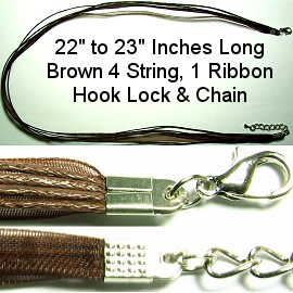 "Brown 4 String, 1 Ribbon 23"" Chain narrow head Ns178"