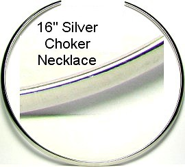 "Silver 16"" Metal C - Choker Necklace Ns181"