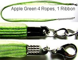 "50pcs-pk 18"" Cord 4Strings-1Ribbon Apple Green NK183"