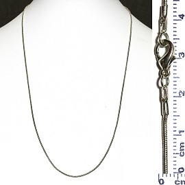 "1pc Gray Smooth 19.5"" Chain Metal Necklace Lock Ns210"