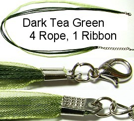 "50pcs-pk 18"" Cord 4Strings-1Ribbon Dark Tea Green NK234"