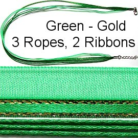 "Silver + Green 3 Ropes, 2 Ribbons 19"" Ns258"