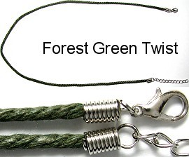 "50pcs-pk 18"" Cord Twisted Forest Green NK264"