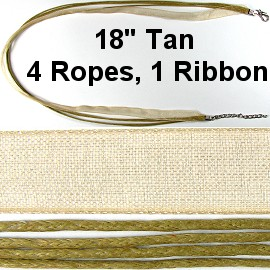 "50pcs-pk 18"" Cord 4Strings-1Ribbon Tan NK268"