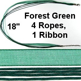"50pcs-pk 18"" Cord 4Strings-1Ribbon Forest Green NK269"