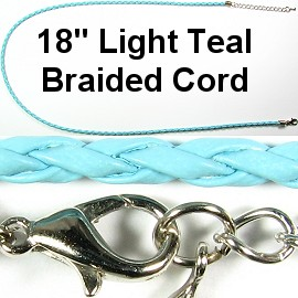"50pcs-pk 18"" 3mm Cord Leather Braided Sky Blue NK279"