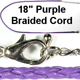 "50pcs-pk 18"" 3mm Cord Leather Braided Purple NK283"