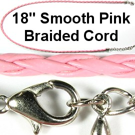 "18"" 3mm Smooth Pink Braided Cord Ns284"