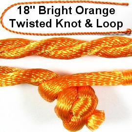 "50pcs-pk 18"" Cord Twisted Knot Loop Bright Orange NK288"
