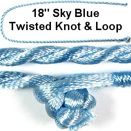 "50pcs-pk 18"" Cord Twisted Knot Loop Sky Blue NK289"