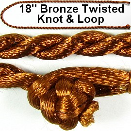 "50pcs-pk 18"" Cord Twisted Knot Loop Bronze NK292"