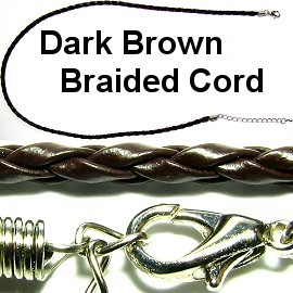 "21"" 3mm Dark Brown Braided Cord Ns317"