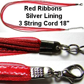 "50pcs-pk 18"" Cord 3Strings-2Ribbons Silver Lining Red NK342"