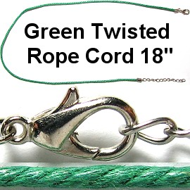 "50pcs-pk 18"" Cord Twisted Green NK357"