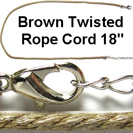 "50pcs-pk 18"" Cord Twisted Dark Tan NK358"