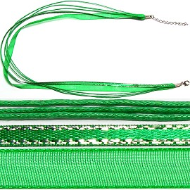 "50pcs-pk 18"" Cord 3Strings-2Ribbons Silver Lining Green NK363"