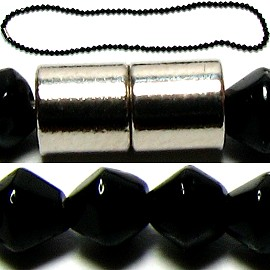 "1pc Beads Necklace Black Magnetic Clasp 17.5"" Ns383"