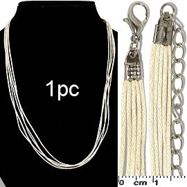 "1pc 18"" Inches 5-String Cord Necklace Cream Ns454"