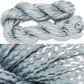 "55' Feet Woven Shamballa String 1/16"" Wide Gray Ns465"