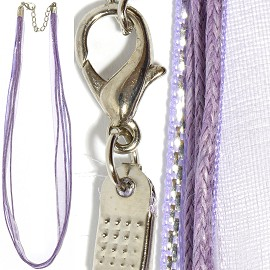 "1pc 18"" Ribbon 3Rope Cord Lavender Silver Lining Ns477"