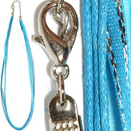 "1pc 18"" Ribbon 3Rope Cord Turquoise Silver Lining Ns479"