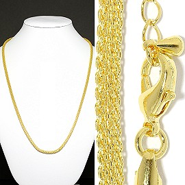 "1pc 19"" Chain Necklace 5mm Wide Gold Ns529"