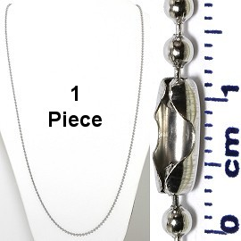 "1pc 31"" Ball Chain Silver Tone, Stainless Steel Material Ns574"