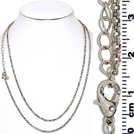 "1pc 31"" Inches Long Chain Necklace Metallic Tone Ns619"