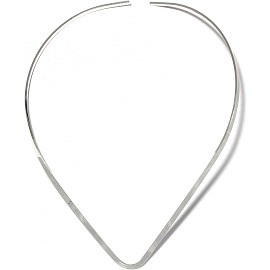 1pc Choker Metal Alloy Point Silver 3mm Wide Ns623